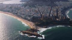 Flying from Ipanema to Copacabana Beach, Rio de Janeiro, Brazil