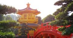 Yellow Pagoda and Red Bridge in the Nan Lian Garden