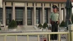 Man Stands Gaurd outside of Mausoleum of Mao Zedong