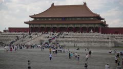 People gather at the Hall of Supreme Harmony in the Forbidden City