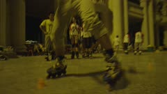 Man Rollerbladding inbetween cones