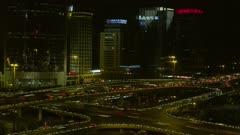 Time Lapse-Traffic below Beijing Skyline