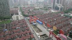 Overhead view of city neighborhood