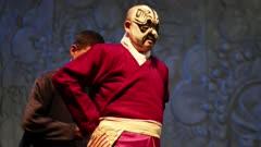 Performer is dressed in preparation for Beijing opera performance