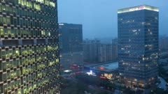 Office Lights turn on and off in Zizhu Buidling