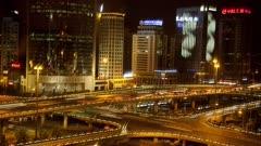 Traffic below Beijing Skyline