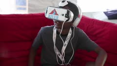 Boy with virtual reality glasses
