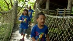 Kids Running on Bridge