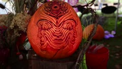 Pumpkin carved with art