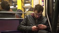 Man rides subway train