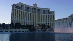 Fountains of Bellagio and the Bellagio Hotel in Las Vegas