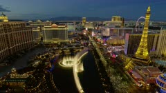 Scenic view of the Fountains of Bellagio and Las Vegas Strip from the Cosmopolitan Hotel