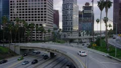 Downtown Los Angeles traffic in the evening