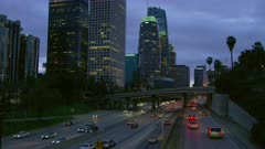Downtown Los Angeles at night with traffic