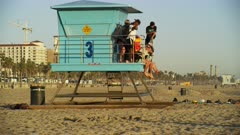 Lifeguard Tower at Huntington Beach Pier, California