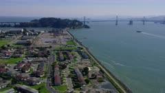Aerial view of Treasure Island, Yerba Buena Island, and the Bay Bridge