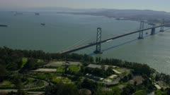 Aerial view of Yerba Buena Island and the Bay Bridge