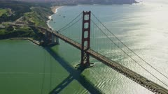 Aerial view of the Golden Gate Bridge and surrounding area