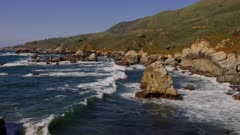 Scenic view of the ocean waves along the California coast at Big Sur
