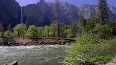 Merced river and Bridelveil Falls in Yosemite National Park
