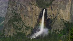 Scenic view of a rainbow at Bridaleveil fall from Yosemite's tunnel entrance