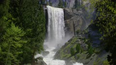 Scenic view of hikers at Vernal Falls