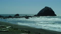 Rocks in ocean and Lagoon Beach