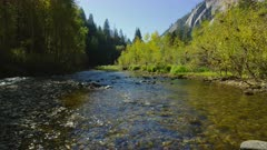 Merced river surrounded with trees and mountains in fall