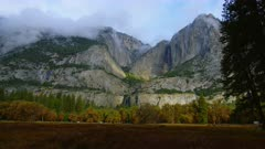 Morning fog over mountains and trees near Yosemite Falls