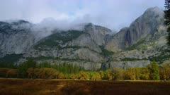 Morning fog over mountains near Yosemite Falls