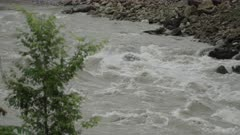 Barabise, Nepal - July 31, 2015: Slow motion muddy river in spate