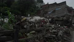 Barabise, Nepal - July 31, 2015: Tangled mess of reinforced concrete