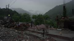 Barabise, Nepal - July 31, 2015: Pan of destroyed buildings