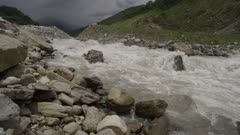 Nepal - August 1, 2015: Pan of river rushing down hill