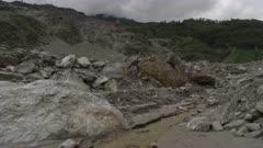 Nepal - August 1, 2015: Small stream, landslide