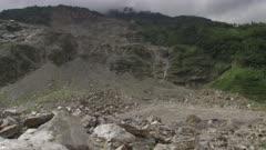Nepal - August 1, 2015: WS landslide, vehicles on makeshift road
