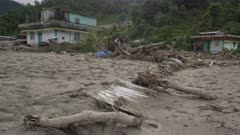 Pokhara, Nepal - August 2, 2015: WS house amidst destruction from landslide