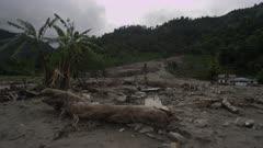 Pokhara, Nepal - August 2, 2015: Landslide, palm trees, devastation