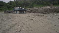 Pokhara, Nepal - August 2, 2015: Pan of landslide devastation