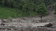 Pokhara, Nepal - August 2, 2015: WS landslide destruction