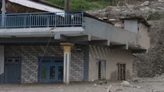 Pokhara, Nepal - August 2, 2015: House destroyed by landslide