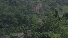 Pokhara, Nepal - August 2, 2015: WS forest and trace of landslide