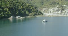 Small ferry leaving Picton, Marlborough Sounds, New Zealand