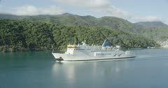 Picton, Marlborough Sounds, New Zealand with the Interislander Ferry departing port