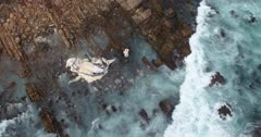 Pan over reef to humpback whale carcass and bones