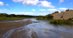 Crossing the Kauaeparaoai stream at Ninety Mile Beach, New Zealand