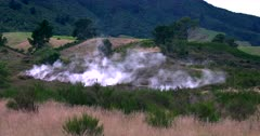 Hot steaming thermal vents along a volcanic fault line, at Taupo, New Zealand