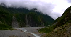 Pan across the gorge created by the Fox Glacier