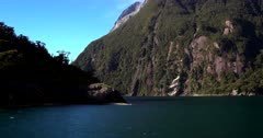 Sailing in Milford Sound on the Tasman Sea inlet