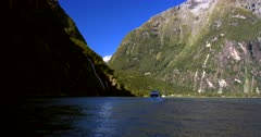 A Tourism boat on the Tasman Sea Inlet at Milford Sound